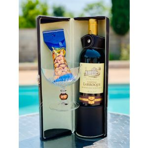 GIFT BASKET 142 CHATEAU LARROQUE RED WINE BORDEAUX ROUGE 2015 IN WINE CARRIER